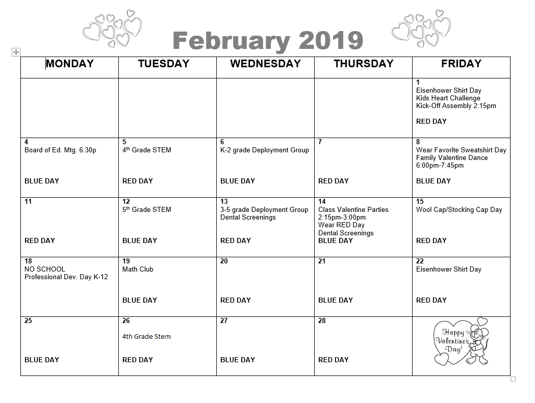 Picture of February Calendar. See calendar on website for details.